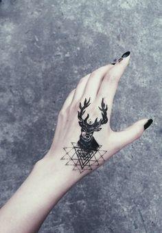 deer tattoo on hand #hipster #inked #geometric