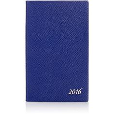 Smythson 2016 Panama Diary (£46) ❤ liked on Polyvore featuring home, home decor, stationery and blue