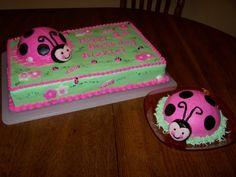 Sheet cake pink ladybug cake...for my picky fam who doesnt want fondant.