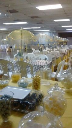 Grey and yellow Elephant baby Shower umbrella centerpieces
