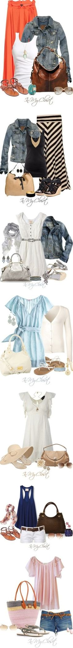 And#34;Hurry Up Summer!And#34; by in-my-closet on Polyvore. LOVE THE MAXI SKIRTS W/DENIM JACKETS (I HAVE JACKETS)! Would need longer shorts! Don't care for all white outfits!