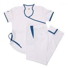 Jazmín poly blanco con azul - Oh Wear Scrubs, Coat, How To Wear, Jackets, Dresses, Healthy, Ideas, Fashion, Scrubs Uniform