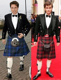 John Barrowman and David Tennant in kilts, side by side.