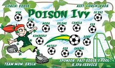 Poison Ivy B54865_F  digitally printed vinyl soccer sports team banner. Made in the USA and shipped fast by BannersUSA.  You can easily create a similar banner using our Live Designer where you can manipulate ALL of the elements of ANY template.  You can change colors, add/change/remove text and graphics and resize the elements of your design, making it completely your own creation.