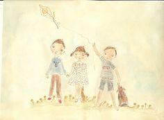 Friends and kite.  @Krystal Kirkpatrick #watercolor, illustration, art, children, paper