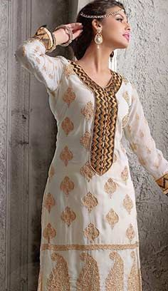 Indian Traditional Cream Georgette A Line Dresses, Dress