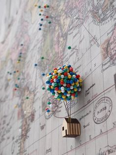 Brighten up your pin board with this fun and uplifting house of pins! Balloon Pin House provides an enchanting place for you to store your noticeboard pins.