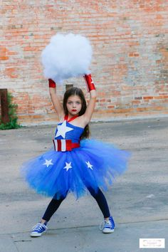 Haydie Potatee Boutique has the most adorable costume ever !!  Our new Custom Captain America Costume is sure to turn some heads!    This adorable Captain America Costume is a must have for your little girl! It is perfect for a Superhero themed party, Halloween, Photo session,!!! It is not only sure to turn some heads but super adorable!!!    Captain America Tutu Dress- Beautiful blue crochet top adorned with a handmade Star emblem in white (sparkle). Top stretches for perfect fit. Red…