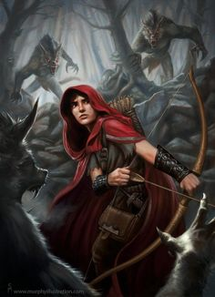 """A Ranger is attacked by werewolves. This is also a nice Red Riding Hood gender bend with a male """"Hood."""" Fantasy Illustrations by Scott Murphy Fantasy Characters, Female Characters, Fantasy World, Fantasy Art, Of Wolf And Man, Red Ridding Hood, Fantasy Warrior, Fantasy Illustration, Bad Wolf"""