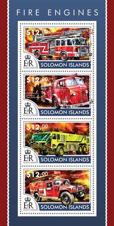Post stamp Solomon Islands SLM 15214 aFire engines (2004 Pierce Enforcer, 1954 American LaFrance Type 700 pumper, Oshkosh Striker, The Hummer fire truck)