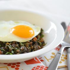 Easy, Wholesome Weeknight #Recipe: Braised Lentils and Chard Topped with an Egg