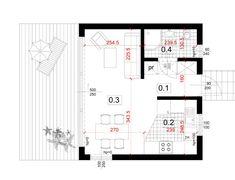 Dom modułowy, nowoczesny - BoXi1. Dom do 35m2. CONTiBOX 1, Floor Plans, Architecture, Studio, House, Arquitetura, Studios, Architecture Design, Floor Plan Drawing