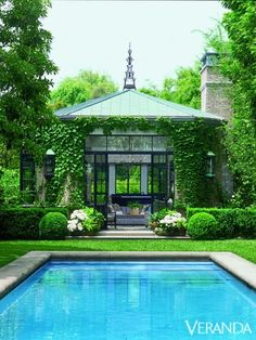 Simple Painted patio- lights home decor outdoors crafts exterior design before and after Glass-paneled, ivy-laced pool house Modern house de. Outdoor Rooms, Outdoor Gardens, Outdoor Living, Orangerie Extension, Gazebo, Pergola, Dream Pools, Beautiful Pools, Garden Pool