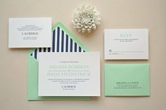 Navy and mint wedding invitation - see more on http://themerrybride.org/2014/05/22/mint-and-navy-wedding/