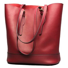 New Trending Tote Bags: Covelin Womens Handbag Genuine Leather Tote Shoulder Bucket Bags Large Capacity Wine Red. Covelin Women's Handbag Genuine Leather Tote Shoulder Bucket Bags Large Capacity Wine Red  Special Offer: $59.99  188 Reviews Covelin bucket bag – Vintage  Simple designed. Dimension: 11.4″ x 12.6″ x 7.1″ (Length x Height x Depth). Handle Drop:...