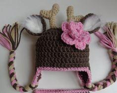 Girl White Tail Deer Crochet Hat Photo Prop by 3JoyfulHeartsDesign, $18.00