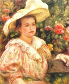 Пьер Огюст Ренуар -  Lady with white hat  (1895) - Открыть в полный размер