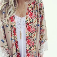 """Floral print kimono Floral print loose kimono cardigan. Chiffon. Hand wash or dry clean.   Small- shoulder: 14.8"""", bust: 42.9"""", length: 33.2""""  No trades. Price firm unless bundled. If you're interested in purchasing, please let me know by leaving a comment, and I'll create a separate listing unique to you.  Sweaters"""