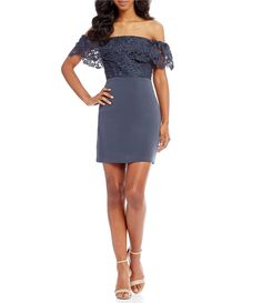 9e2e5fc67fd Shop for STYLESTALKER Madelyn Off-the-Shoulder Lace Mini Dress at  Dillards.com