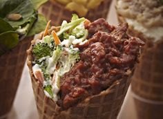 Tex-mex chile and a salad in a waffle cone!