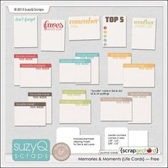 FREE printable Project Life Cards!!