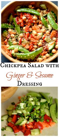 Chickpea Salad with Ginger & Sesame Dressing. Nutritious and easy lunch or side dish!