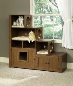 Pet Bookcase Climber - Cat House That is Also a BookcaseShelf
