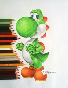 Yoshi by MsMellou drawings sketches pencil halloween Amazing Drawings, Realistic Drawings, Colorful Drawings, Art Drawings Sketches, Disney Drawings, Cartoon Drawings, Cool Drawings, Cartoon Art, Color Pencil Art