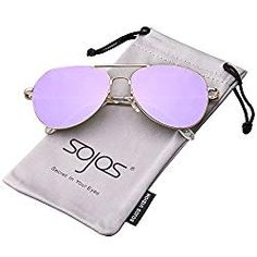 6c533c484f SojoS Classic Aviator Mirrored Flat Lens Sunglasses Metal Frame with Spring  Hinges SJ1030 Sojos Sunglasses