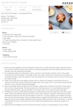 My Recipes, Whole Food Recipes, Healthy Recipes, Pretzel Bun, First Health, Tasty, Yummy Food, Dry Yeast, Types Of Food