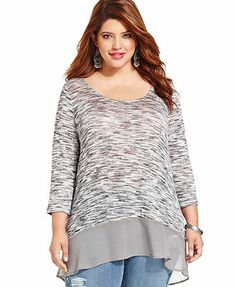 Jessica Simpson Plus Size Long-Sleeve High-Low Top