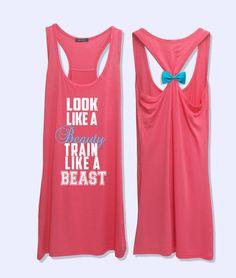 Look like a beauty train like a beast fitness workout tank top with  detachable bow-064