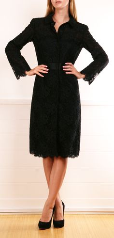 Oscar de la Renta black lace dress
