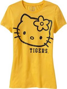 Old Navy Women's Hello Kitty College Team Tees US$24.94  - not available in Canada; just like this because Dalhousie is black & gold and Tigers