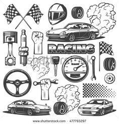 Car racing black isolated monochrome icon set with objects and attributes of automobile, vector illustration. Racing helmet, piston, spark plug, wheel, flag.