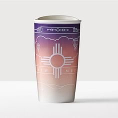 New Mexico Double Wall Traveler. A double-walled ceramic mug featuring art inspired by the New Mexico landscape.