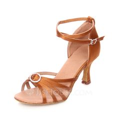 Women's Satin Heels Sandals Latin With Rhinestone Ankle Strap Dance Shoes (053064942)