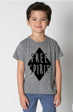 ORDER NOW FOR DELIVER IN 1-2 WEEKS!MawdsleyLoves tee - Free Spirit is the cornerstone tee in the new collection and is the message that each MawdSquad kid should embody!  A true free spirit!Printed in black ink on an athletic grey American Apparel Tri-Blend (50% Polyester / 25% Cotton / 25% Rayon)  • Polyester retains shape and elasticity; Cotton lends both comfort and durability; addition of Rayon makes for a unique texture and drapes softly against the body for a comfort...