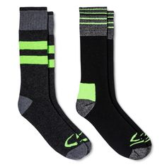 09f390ab7882 Men s Outdoor Socks 2pk - C9 Champion® Black With Green Stripe 6-12