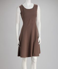 Take a look at this Taupe Sleeveless Dress by Voir Voir on #zulily today!