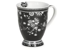 S/4 Large Porcelain Flower Mugs