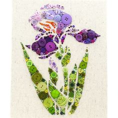I love this button art in my craft room! Button Art Purple Iris - Handmade Home Decor by PaintedWithButtons
