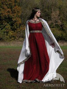 """Mittelalter Kostüm """"Dame Aus Franken"""" Tunika, Kleid Und Schleier"""