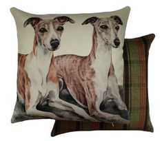 Whippet Pair Waggy Dogz Cushion - A Bentley Cushions Draught Excluders, Printed Cushions, Whippets, Novelty Socks, Bench Cushions, Seat Pads, Cushion Pads, Watercolor Paintings, Tapestry