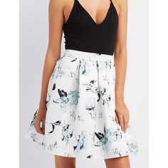 Charlotte Russe Floral Full Midi Skirt ($27) ❤ liked on Polyvore featuring skirts, white combo, white pleated skirt, flared skirt, a line skirt, white flare skirt and white midi skirt