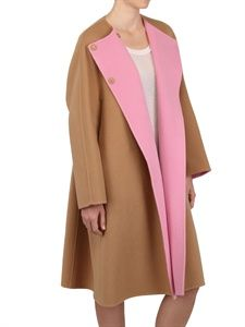 JIL SANDER - TWO TONE SOFT WOOL COCOON COAT - LUISAVIAROMA - LUXURY SHOPPING WORLDWIDE SHIPPING - FLORENCE