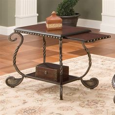 Riviera Wood and Metal Chairside End Tab. - A stylish companion to your favorite chair, the Riviera chairside end table offers an elegant place - Decor, Discount Furniture, Furniture, Bookshelf Decor, Table, Chair, End Tables, Wood And Metal, Steve Silver Furniture