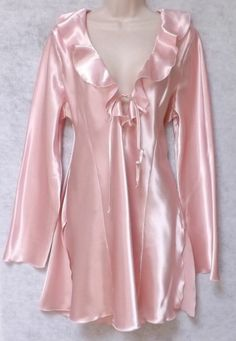 GORGEOUS FREDERICK'S OF HOLLYWOOD PINK SATIN SHINY NIGHTGOWN DRESS SIZE 1X