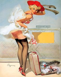 Pinup art print featuring the painting luggage accident pin-up girl by gil elvgren Pin Up Vintage, Art Vintage, Retro Pin Up, Vintage Cartoon, Retro Style, Illustration Art Nouveau, Pin Up Illustration, Gil Elvgren, Pinup Art