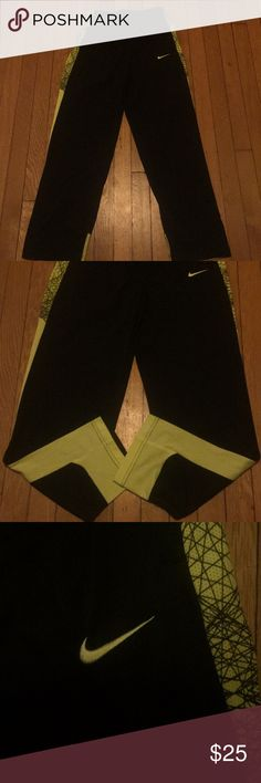LAST CHANCE Youth Nike Dri-fit Sweatpants Black and neon yellow. Dri-fit material. Great condition. Pet and smoke free home. Nike Bottoms Sweatpants & Joggers